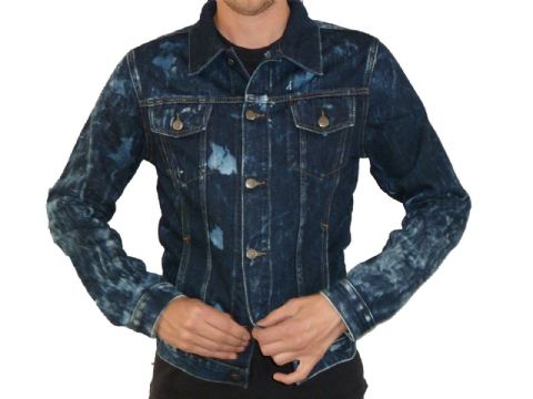 Anderson - Denim Short Vintage Punk Retro Jacket - Acid Wash Blue Denim